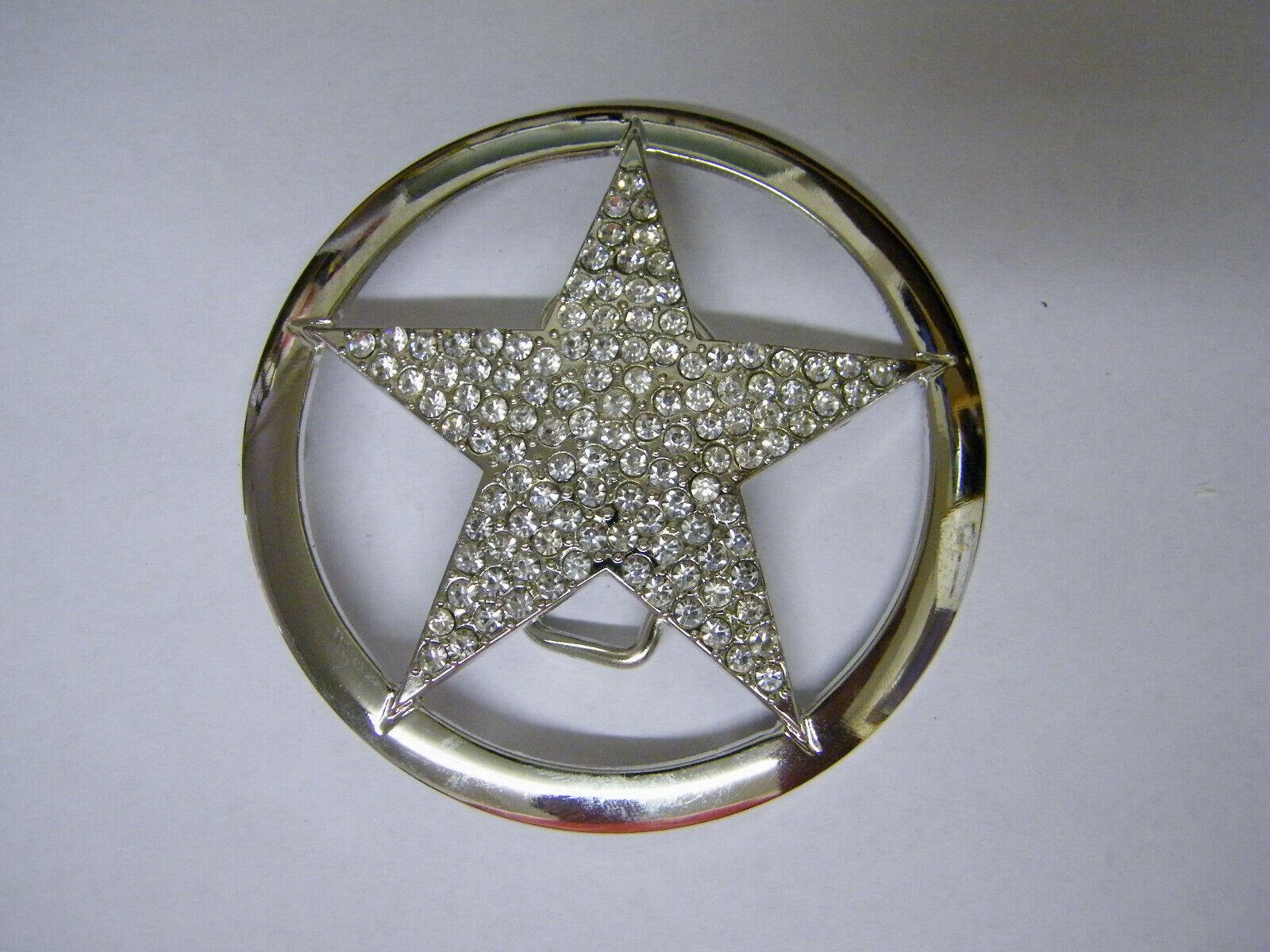 Silver Colored Star w/Rhinestones Belt Buckle #2