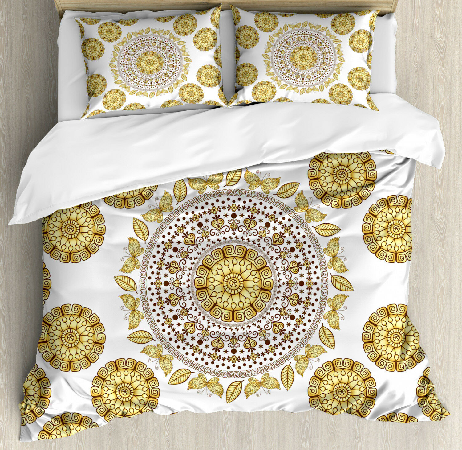 Mandala Duvet Cover Set with Pillow Shams Ancient Natural Leaves Print