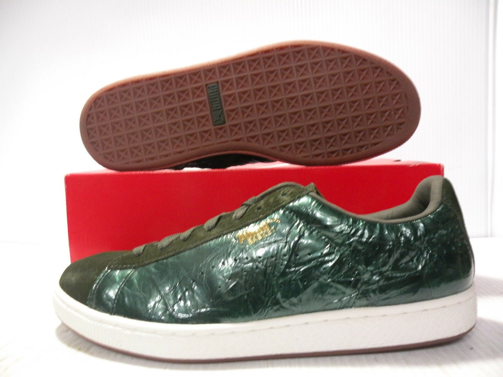 PUMA THE BASKET RIPPLE LOW SNEAKERS MEN SHOES GREEN 182105-01 SIZE 12 NEW