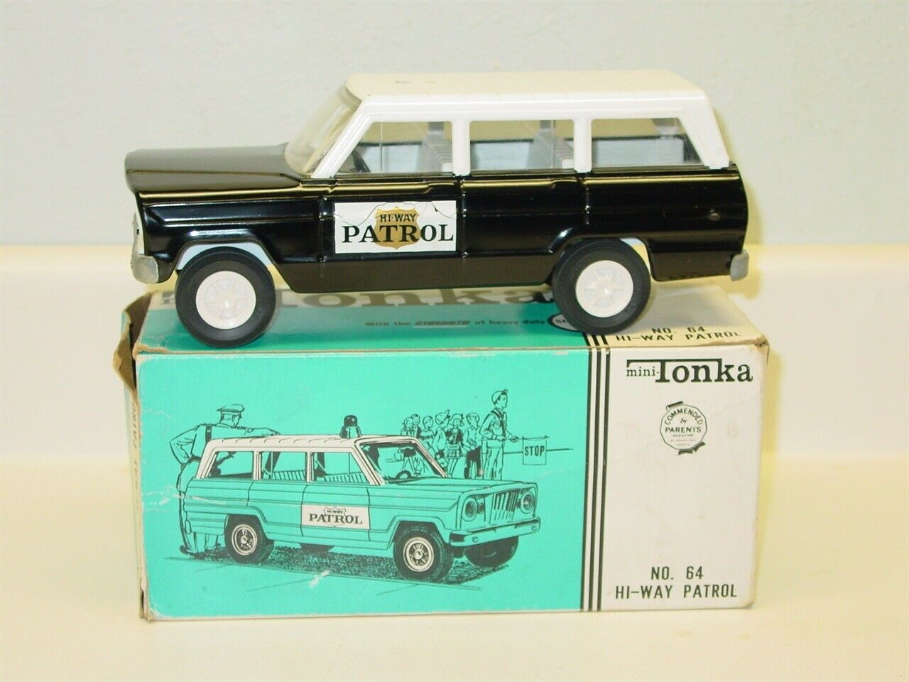 Vintage Mini-Tonka Hi-Way Patrol No. 64 with Box, Pressed Steel Toy Vehicle