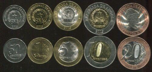 ANGOLA SET 5 COINS 50 CENT 1 5 10 20 KWANZAS 2012-2014 UNC