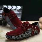 Fashion Men Lace Up Loafers Driving Peas Shoes Casual Leather Moccasin Sneakers