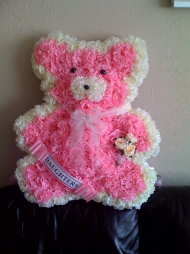 SILK FUNERAL FLOWER LARGE TEDDY WREATH TRIBUTE ARTIFICIAL ANY COLOUR MEMORIAL