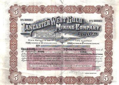 Transvaal South Africa 1892 Transvalia Land Exploration Mining £25 Uncancelled