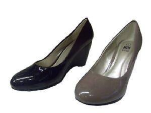 Ladies-Shoes-Beauty-Black-or-Latte-Patent-Pump-Wedge-Heels-New-Size-5-10