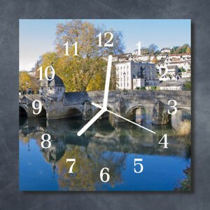 Glass-Wall-Clock-Kitchen-Clocks-30x30-cm-silent-Bridge-Multi-Coloured