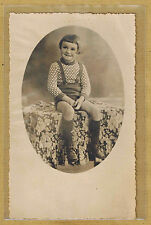 Carte Photo vintage card RPPC enfant culotte à bretelles mode fashion pz0215