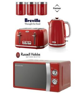 Red Breville Kettle And Toaster Set