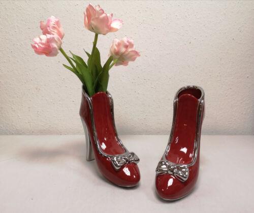 Gilde Dreamlight Maße : 20x21,5x8 cm H//B//T Keramik High Heel-Vase rot ca
