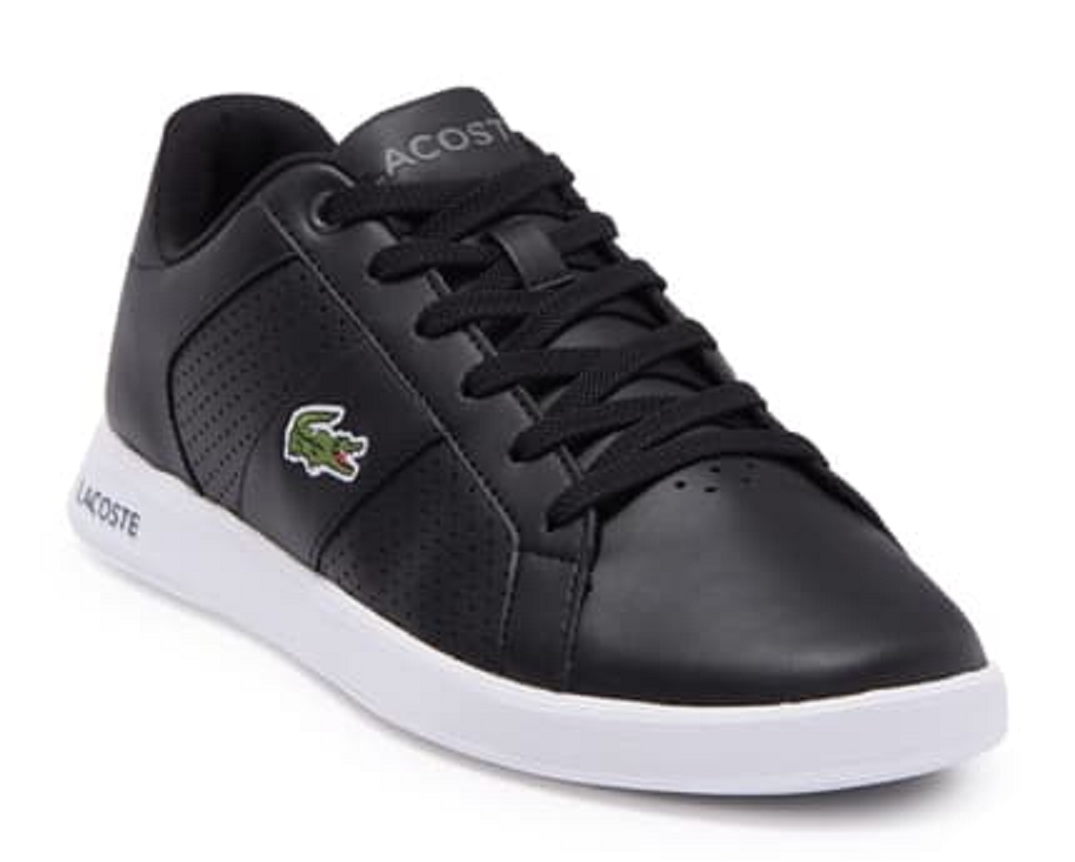 LACOSTE Men's Casual Novas Athletic Leather & Synthetic Sneaker, Black, 11 US