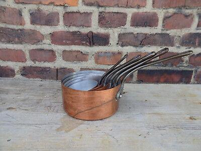 5 Alte Große Kupfertöpfe / Kupfer Kasserollen / Made In France Interne-nr. 874 Seien Sie Freundlich Im Gebrauch