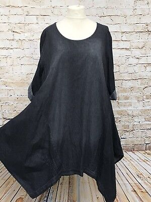 Moonshine Fashion Jeans Kleid Tunika Zipfel Lagenlook Übergröße 46 48 50 Neu 6