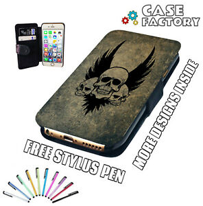Details About Tattoo Vintage Brothers In Arms Skulls Leather Wallet Flip Phone Case Cover