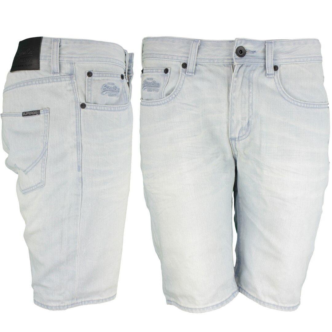 Superdry Jeans uomo short Officer BLEACHED blu m71901jo b45