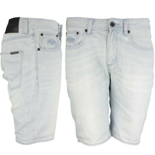 Superdry Jeans uomo short Officer BLEACHED Blue m71901jo b45