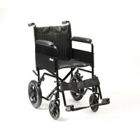 Drive S1 Steel Folding Transit Wheelchair - Robust Frame With Padded Armrests
