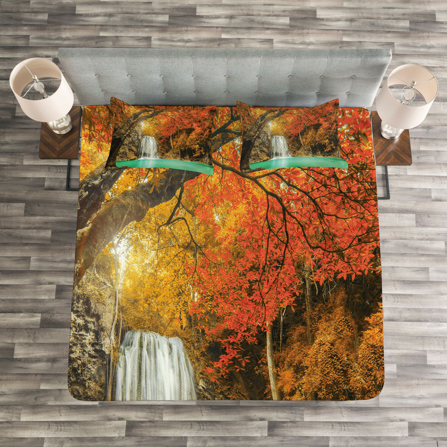 Waterfall Quilted Bedspread & Pillow Shams Set, Autumn Nature Forest Print