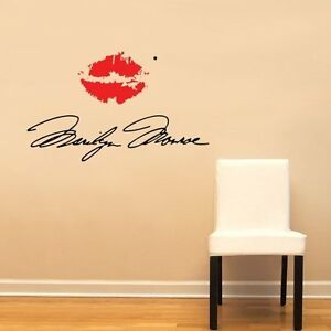 Marilyn Monroe Signature Red Lips Lipstick Pucker Wall Decal - Wall decals marilyn monroe