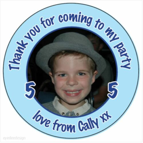 152 35x Personalised Boys Birthday Party Bag Photo Stickers Sweet Cones Picture
