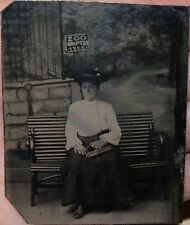 ANTIQUE VICTORIAN LADY w HAT PURSE BENCH ZOO SIGN LION BACKDROP TINTYPE PHOTO