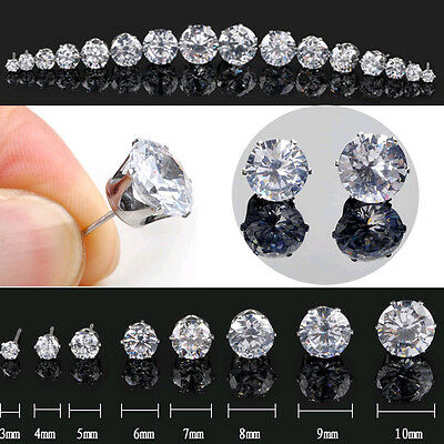 2Pcs Mens DIAMOND CUT CRYSTAL DIAMANTE Sterling Silver Clear Ear Studs Earrings