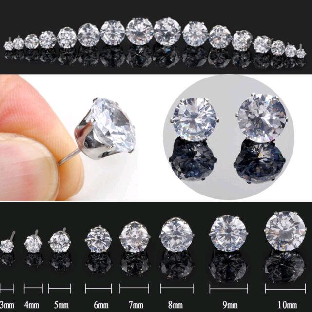 2Pcs Men Diamond Cut Crystal Diamante Stainless Steel Clear Ear Studs Earrings H