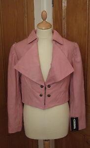 Small Rrp Jacket Short Womens 10 Leather Pink Danish Chdk Cropped £196 Bolero qqHOXT