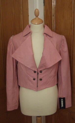 RRP £ 196 Petit 10 court cropped boléro Danois Custom Firmware femme rose veste en cuir
