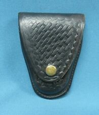Gould And Goodrich Black Leather Basketweave Handcuff Case Model B70w