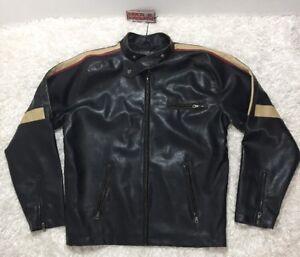 72ecd6581 Details about ROCK & CHROME Vintage Distressed Biker Jacket Size XL Faux  Leather Men's NWT