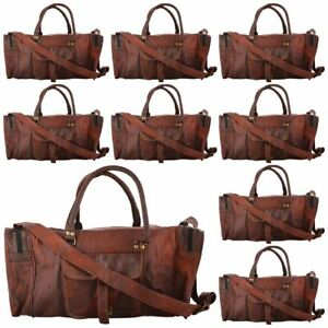 5pc Bag Leather Men Travel Duffle Luggage Gym Vintage Weekend ... bc4a6505224bd