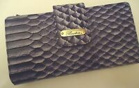 Buxton Women's Snakeskin Checkbook Organizer Wallet, Purple