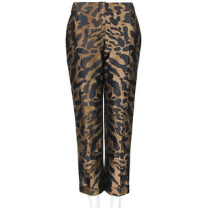 Alexander-McQueen-Bronze-Leopard-Print-Jacquard-Cropped-Trousers-Pants-IT44-UK12