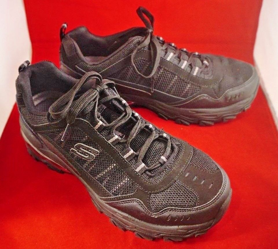 Skechers Men Memory Foam Leather Athletic Sport Comfort 52697 9.5 Wide US Black