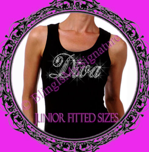 Stylist T-Shirt Tank Top Shirt Letter CLEAR New Juniors Rhinestone DIVA
