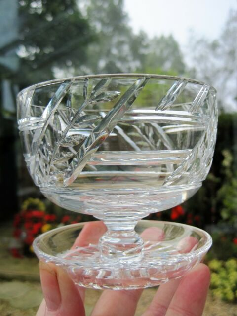 Tudor Crystal Preserve Bowl Cranberry Dish with Upturned Foot Leaf & Line Cut