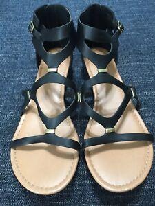 NWT Lane Bryant Sandals Black Faux