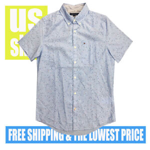 Tommy-Hilfiger-Men-039-s-NWT-Sky-BLUE-w-Micro-STARS-100-Cotton-Button-D-Shirt-XL