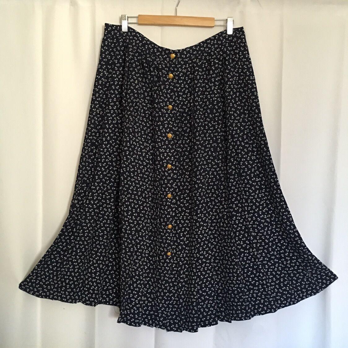 Vintage Talbots bluee gold Botton Anchor Pleat Career Long Full Skirt Plus 20 2X