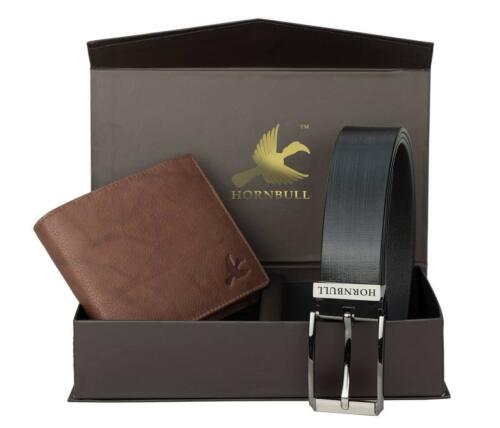 HORNBULL Combo of Men/'s Leather Wallet and Belt Black// Brown skilled handcraft