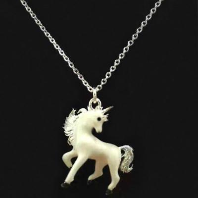 "CUTE UNICORN NECKLACE 17"" Chain White Enamel Charm Pendant Magical Horse NEW"