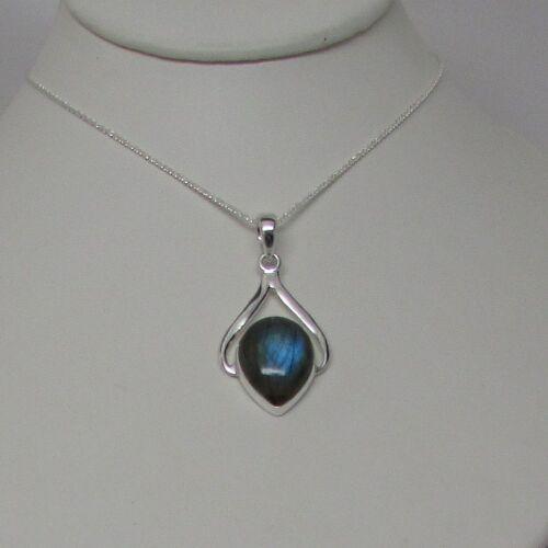 Sterling Silver pendant Labradorite stone 925 Sterling hallmark