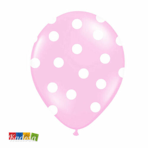 Set 6 pz Palloncini Rosa Pois Bianchi Compleanno Party Festa Battesimo Birtdhay