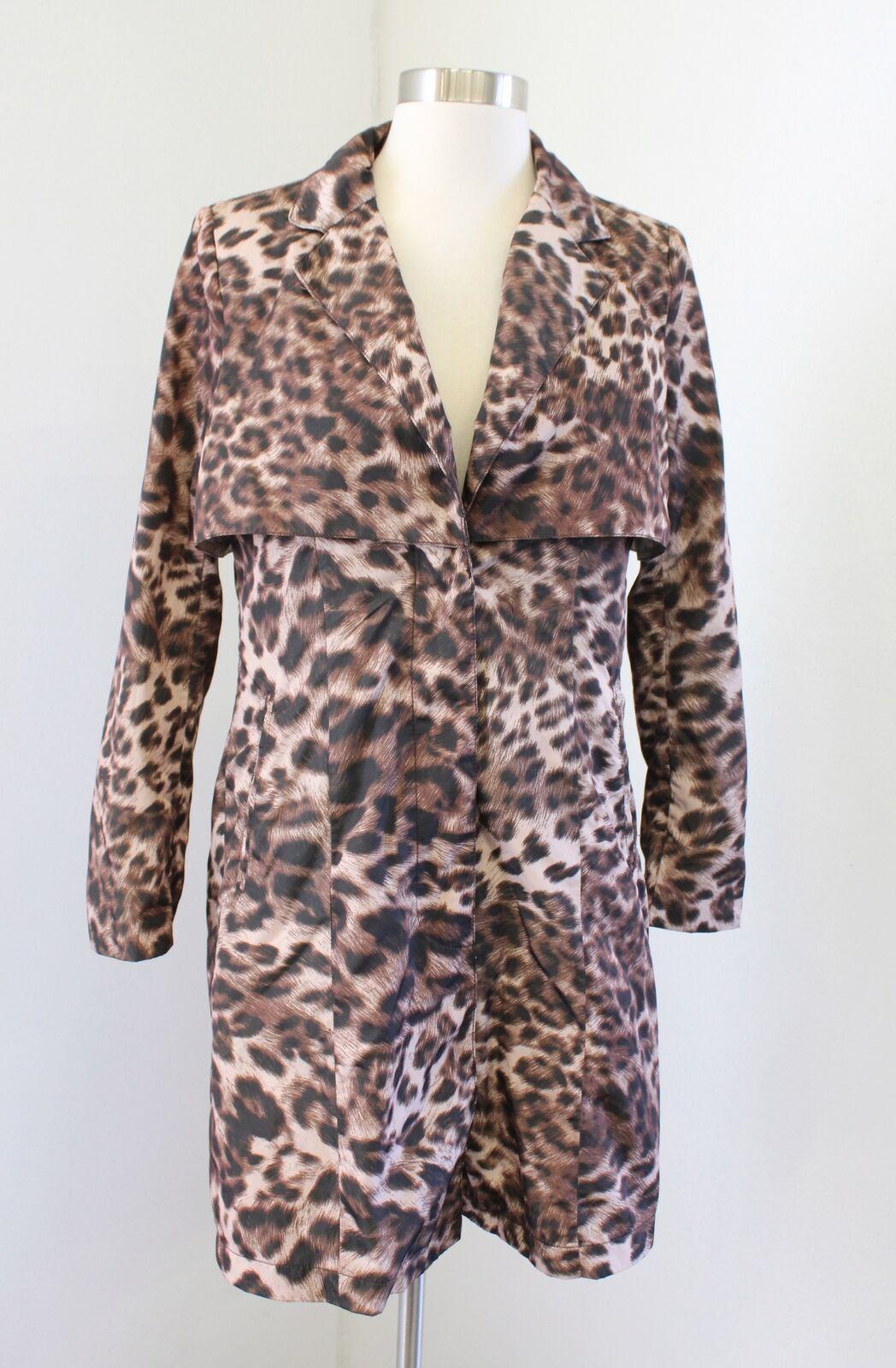 American Glamour Badgley Mischka Leopard Cheetah Print Button Front Jacket Sz XS