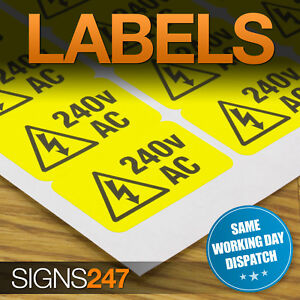 ELECTRICAL-WARNING-STICKERS-self-adhesive-yellow-labels-AC-240V