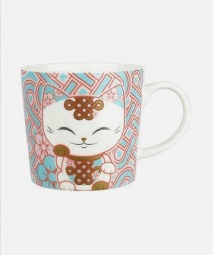 Mug chat porte bonheur Mani the Lucky Cat blanc bleu rose brique