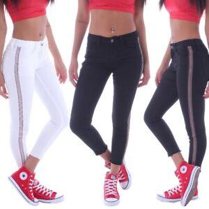 Damen-Skinny-Jeans-Stoffhose-roehrenjeans-Hose-7-8-Huefthose-Stretch-Sommer-B0115