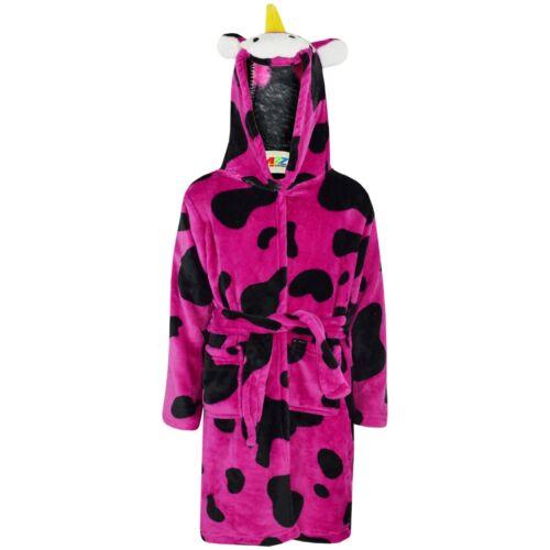 Kids Girls 3D Animal Pink Cow Bathrobe Fleece Dressing Gown Nightwear Loungewear