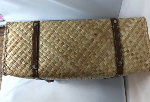 52403b6b5e1 4 of 12 Kate Spade Vintage Woven Bamboo straw wicker bag shopper tote  leather straps 90s