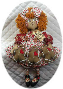 Primitive Raggedy Ann w/Gingerbread Garland~PATTER<wbr/>N 201